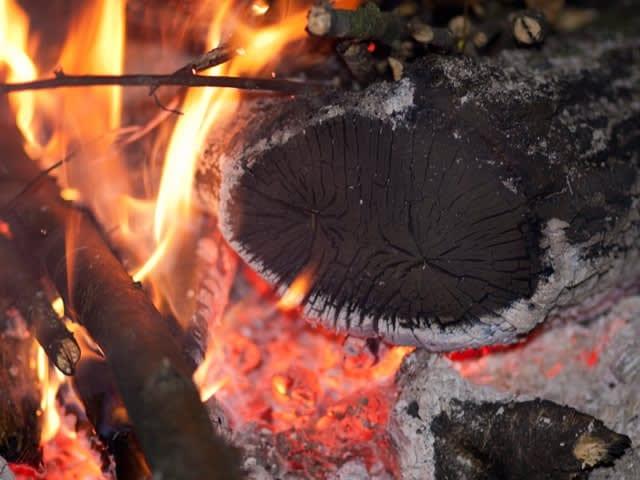 Tenslotte verbrandt het houtskool
